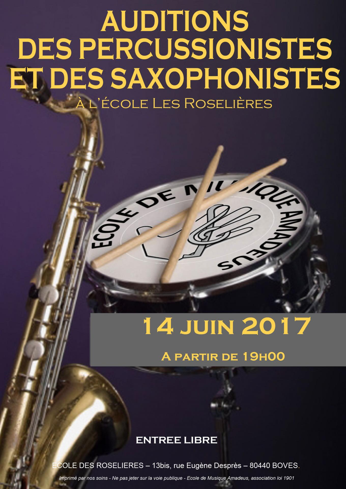 Affiche audition cuivres percus saxos
